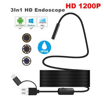 цена на 3 in 1 Micro USB Type C USB Endoscope Camera 8mm 1200P Waterproof Inspection Borescope Camera With 8 LED For Android PC Macbook