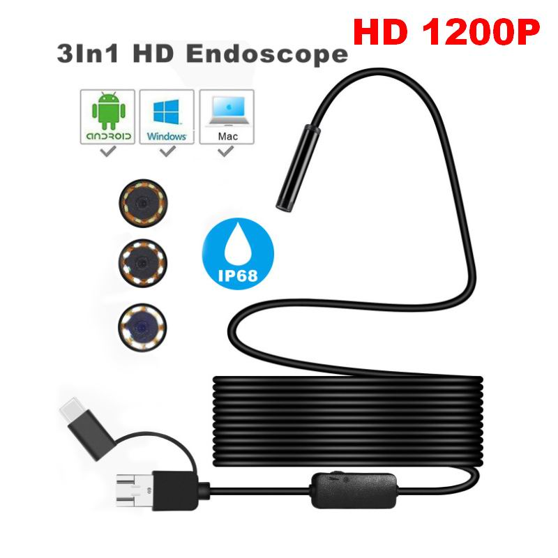 3 in 1 Micro USB Type C USB <font><b>Endoscope</b></font> Camera 8mm <font><b>1200P</b></font> Waterproof Inspection Borescope Camera With 8 LED For Android PC Macbook image