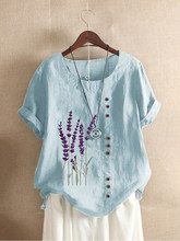 Cotton and Linen Printed T Shirt Tops For Women Summer Loose Lavender Printed T Shirt Shirts