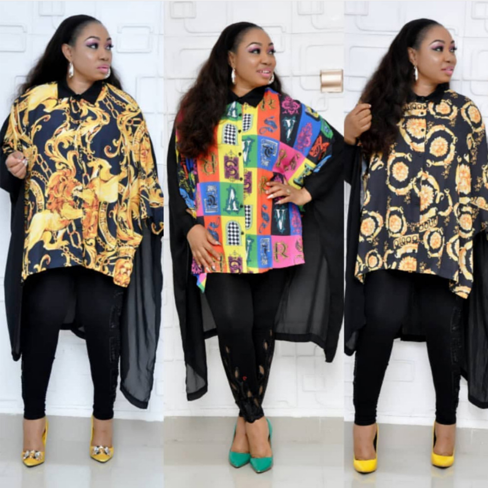 African Print Shirt Dress Women Clothing 2019 Long Sleeve Loose Swallowtail Irregular Hem Ruffled Dashiki Dress Fashion