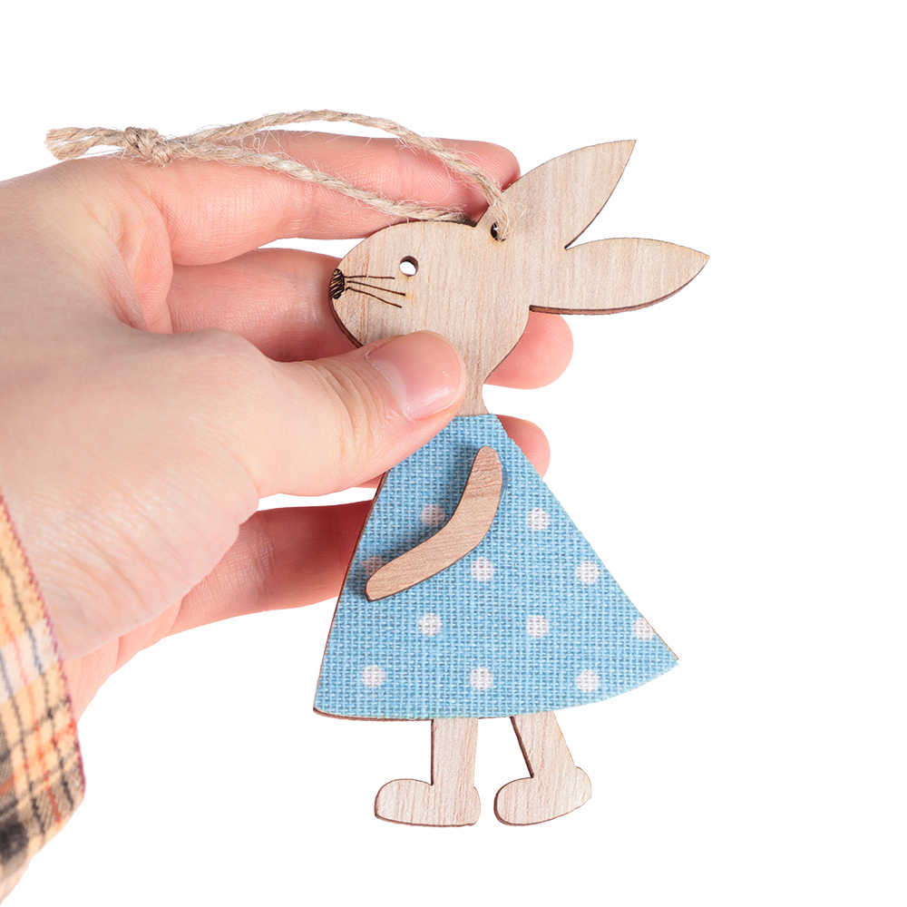 1PCS น่ารักอีสเตอร์กระต่ายไม้ DIY ไม้แขวนหัตถกรรมน่ารัก Bunny อีสเตอร์เครื่องประดับเครื่องประดับอุปกรณ์