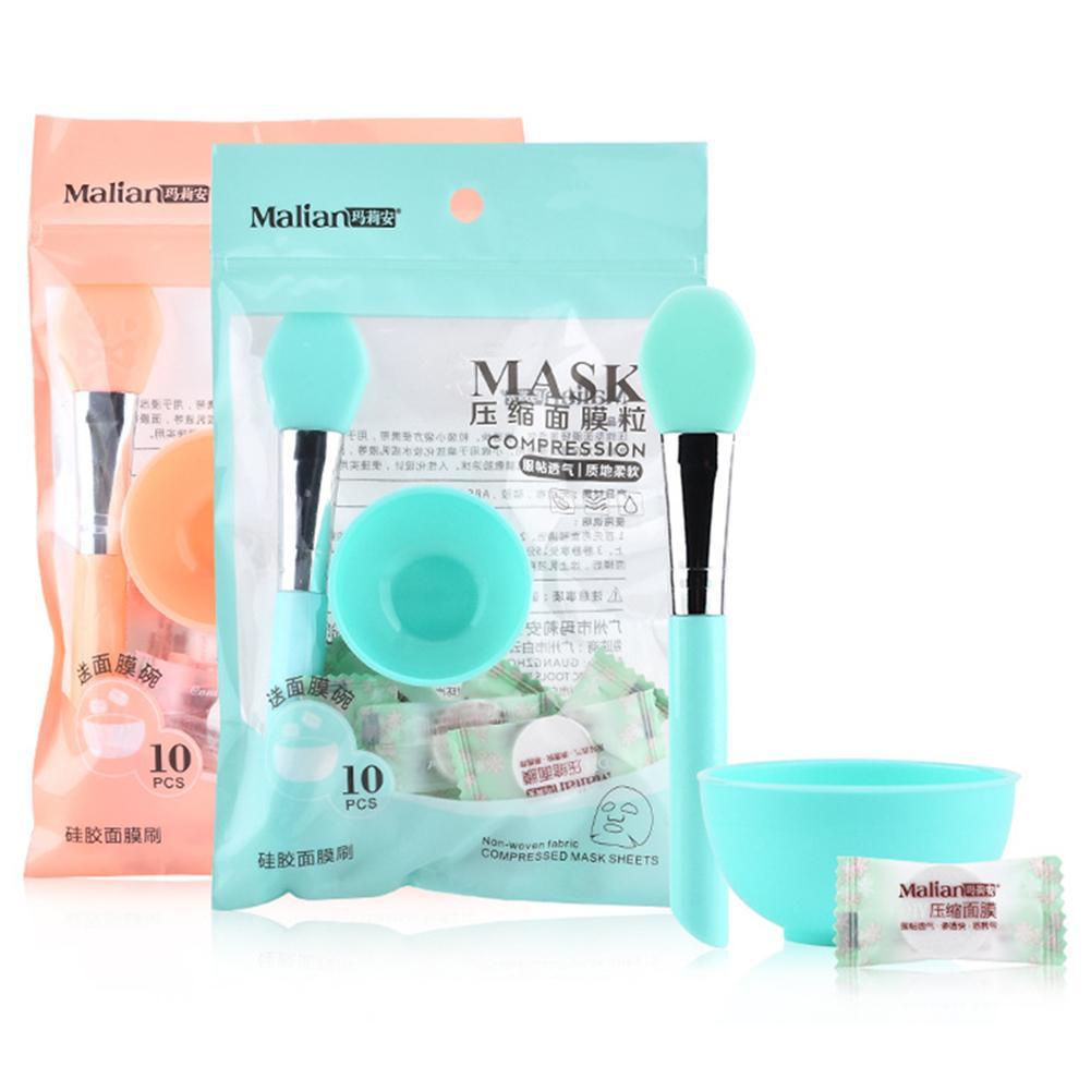 Инструменты для красоты уход за кожей-10 шт. сжатая маска одноразовая маска для лица Нетканая DIY маска для ухода за кожей с набором чашек для м...
