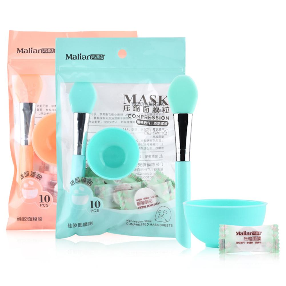 Beauty Tools Skin Care - 10PCS Compressed Mask Disposable Facial Mask Non-woven DIY Skin Care Mask With Makeup Bowl Set