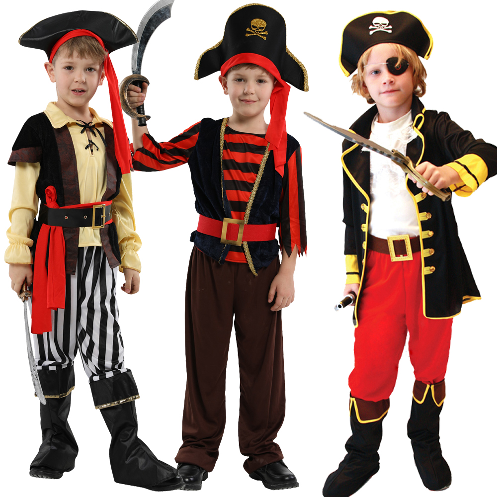 Holiday Pirate Captain Hat Belt Cosplay Costume For Children Boys Fantasia Infantil Of The Caribbean Dress Cosplay Clothing
