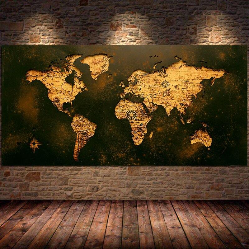 Черная Золотая карта мира Картина на холсте современный классический стиль настенное искусство абстрактная роспись Декор для гостиной Куа...