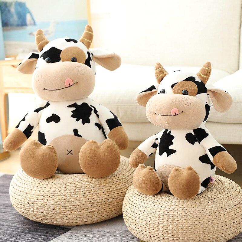 Милая коровья кукла, плюшевая игрушка, мультяшная Милая корова, мягкий пух, хлопок, наполненный, детская игрушка, juguetes ni?a pluszaki, рождественски...