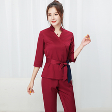 Lady Wine Red Beauty Salon Clothing Hotel Waiter Work Clothes SPA Uniform Autumn
