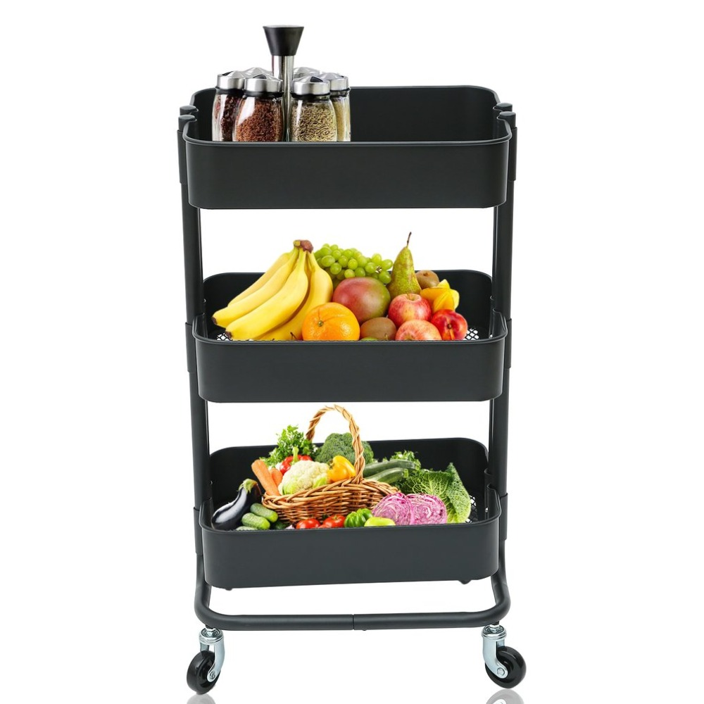 New Multifunction 3 Tiers Salon Hairdressing Rolling Trolley Storage Cart Spa Tools Kitchen Storage Holders & Racks Equipment