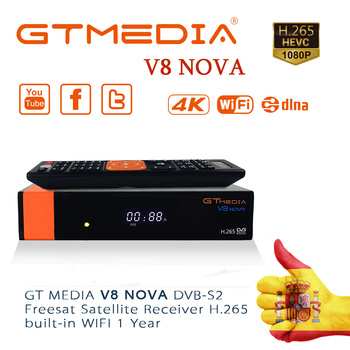 GTmedia V8 nova DVB-S2 Satellite Receiver Built-in WiFi 1080P Full HD with 2Year 5 cline provide free abroad iptv channel tv box