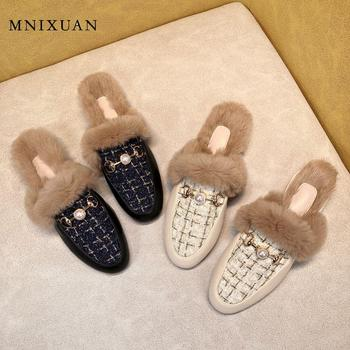 MNIXUAN Designer Shoes Women Luxury 2019 autumn new round toe casual flats mules fur korean ladies shoes black pearl half shoes