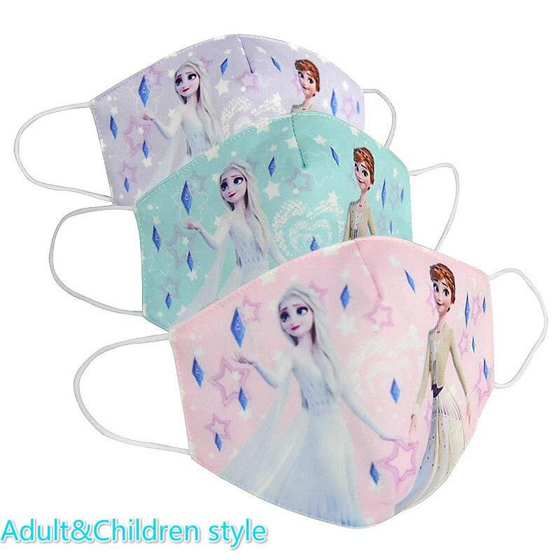 2020 New Elsa Anna Children Face Masks Daily Dustproof Breathable Anti-fog Haze Mask Adult Sun-resistant Cartoon Print Face Mask
