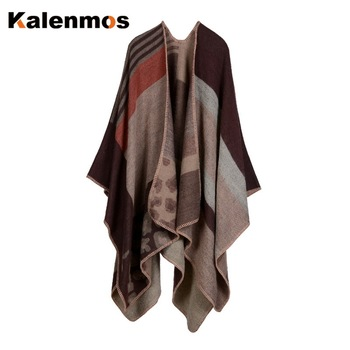 Blanket Scarf Fall Winter Thick Wrap Poncho Women Plaid Travel Shawl Imitation Cashmere Capes National Wind Fork Thicker Cloak 10