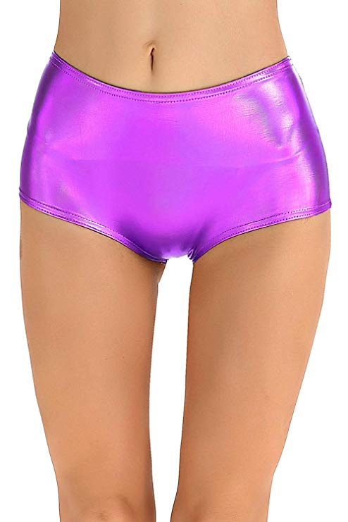 Women's Leather Metallic Shiny Shorts Sexy Low Waisted Dance Shorts For Stage
