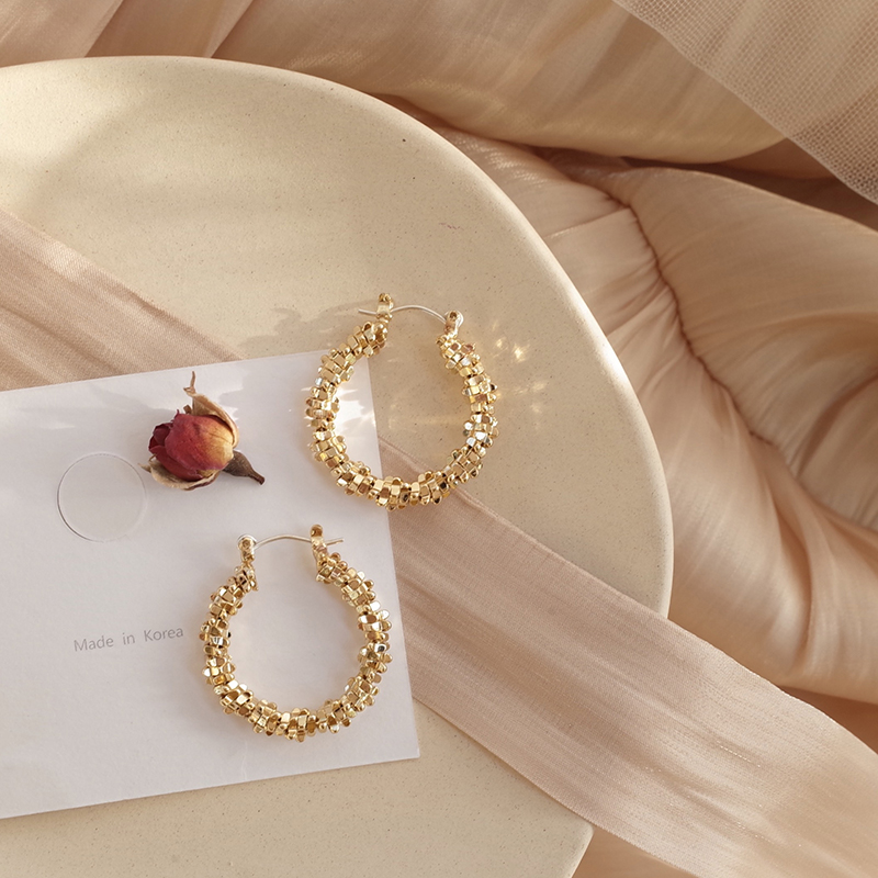 MENGJIQIAO New Vintage Gold Color Geometric Metal Circle Hoop Earrings For Women Shiny Holiday Girls Party Pendientes Jewelry