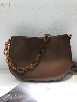 By H 2020 Newest Genuine Leather Half Moon Vintage Acrylic Chain Shoulder Bag Simple Designer Chic Baguette Brown Purse Bolsa