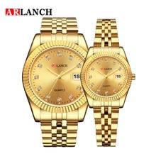 Top Brand Luxury Gold Clock Waterproof Date Couple Watch 202