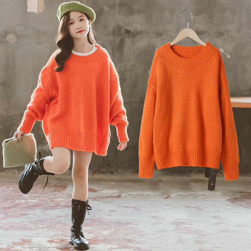 Girls Sweater Pullover Sweater Dress for Kids 2020 Autumn Winter Korean Big  Girl Fashion Lazy Sweaters Loose Knit 10 12 14 Years|Sweaters| - AliExpress