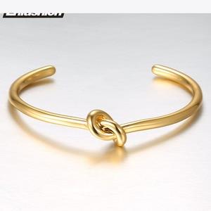 Image 2 - ENFASHION Wholesale Knot Cuff Bracelets Gold Color Manchette Bangle Bracelet For Women Armband Fashion Jewelry Pulseiras B4286