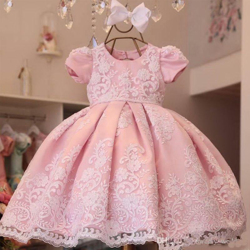 Кружевное бальное платье с цветочным рисунком, платья для девочек на свадьбу, Пышное Платье с аппликацией для маленьких девочек, платья для ...