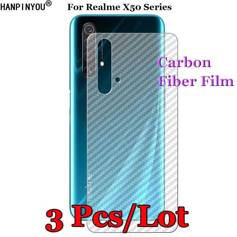 3 pçs/lote para realme x50/pro/player 5g 3d antiderrapante claro fibra de carbono volta filme protetor de tela etiqueta protetora