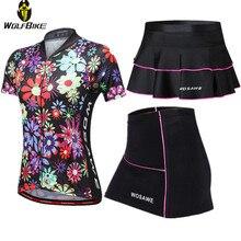 WOSAWE, короткий рукав, летняя одежда для велоспорта, Джерси, платье, набор, Майо, MTB, велосипед, гелевая подкладка, мини юбка, велосипедная женская одежда