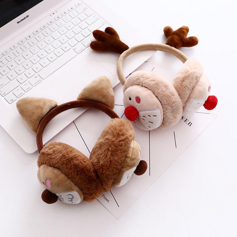 Womena Winter Christmas Plush Earmuffs Cartoon Reindeer Antler Party Ear Warmer