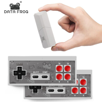 DATA FROG Retro Video Game Console 8 Bit Built in 1400 Classic Games Mini Wireless Console Support AV/HDMI Output Dual Gamepads