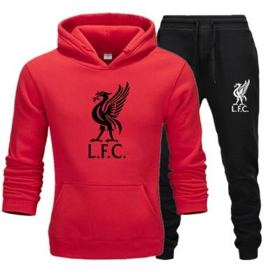 Liverpool Club Men's Sportswear Hoodie Jacket + Sports Pants Suit Autumn And Winter Fashion Fleece Hoodie Jacket Large Size 3XL