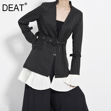DEAT 2019 New Turn-down Collar Flare Sleeves Pleated Patchwork Striped High Waist Single Su