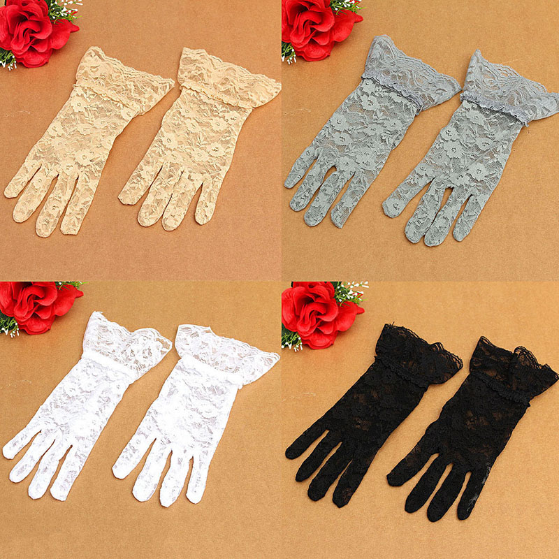 Women's Sexy Wedding Bridal Driving Evening Party Prom Lace Gloves Mittens