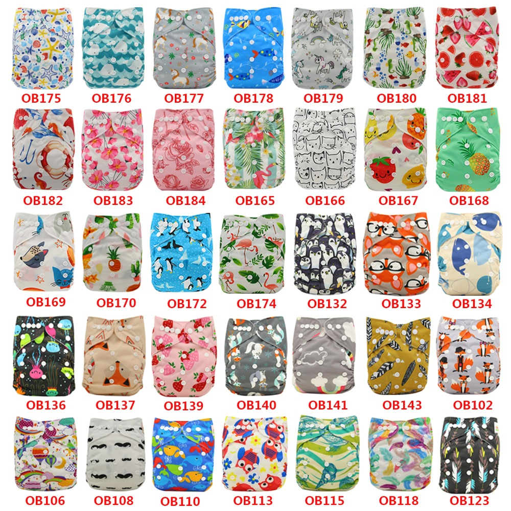 10pcs/Lot Infant Baby Washable Reusable Diaper Cover Pocket Diaper Cover Newborn Cloth Diaper Baby Shower Gifts Cartoon Print