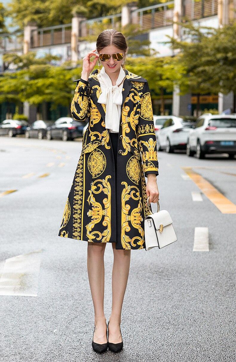 Europe and America retro print women   Trench   coat 2019 Fall/winter elegant belt vintage coat women A728