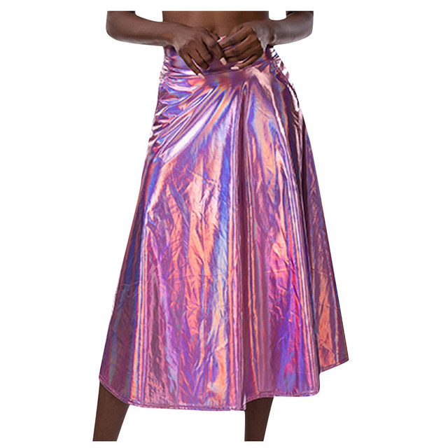 Women Mid Calf Skirts Shiny Holographic Pu Laser A Line Wet Look Loose Skirts With Pocket Summer Party Club Lady Chic Skirt #Z4 2