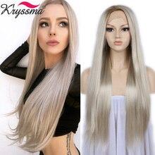 """วิกผมสีบลอนด์ Ombre Synthetic Lace ด้านหน้า Wigs สำหรับผู้หญิงสีน้ำตาลรากธรรมชาติตรงยาวสีบลอนด์ Platinum วิกผมความร้อน OK 24"""""""