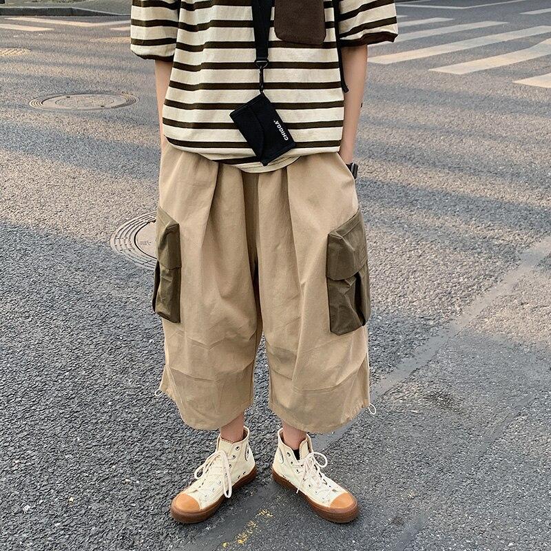 Drawstring Cotton Slacks Men's Fashion Contrast Color Multi-pocket Overalls Men Streetear Wild Loose Hip-hop Trousers Mens
