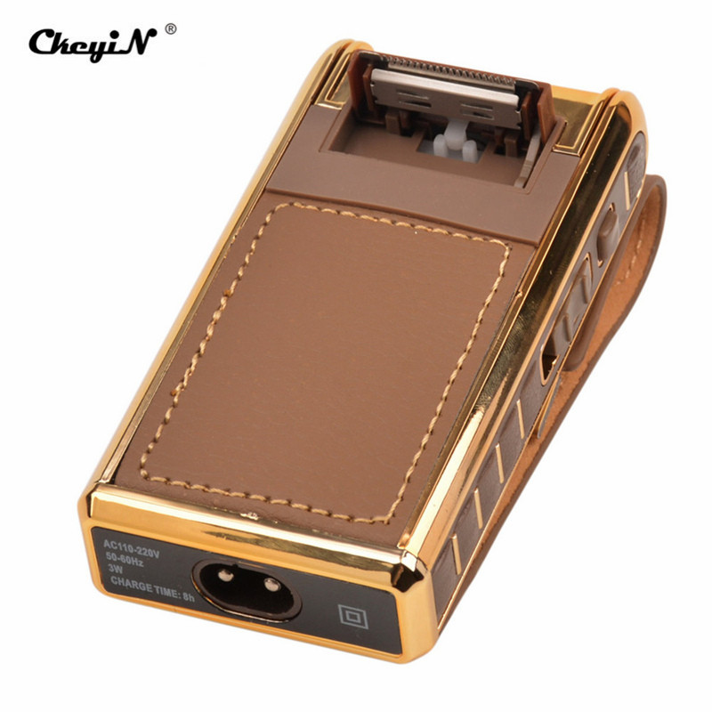 Vintage Leather Wrapped Beard Shaving Machine Electric Reciprocating Shaver Kit Rechargeable Men Razor with Sideburns Trimmer 0