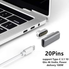 Adaptateur de USB C magnétique 20 broches Type C connecteur, prise en Charge PD 100W Charge rapide, transfert de données 10Gbp/s Compatible avec MacBook Pro
