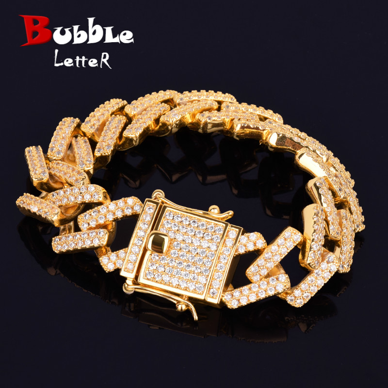 18mm Big Square Miami Cuban Link Bracelet Gold Color Iced Out Cubic Zirconia Rock Hip hop Style Men's Jewelry