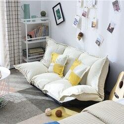 Wygodna tkanina lniana regulowana sofa podłogowa łóżko kanapa składana kanapa meble do salonu z 2 poduszkami