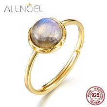 ALLNOEL 925 Sterling Silver Ring For Women 100% Natural Labradorite Gemstone 1.3ct Real Gold Wedding Engagement Fine Jewelry(China)