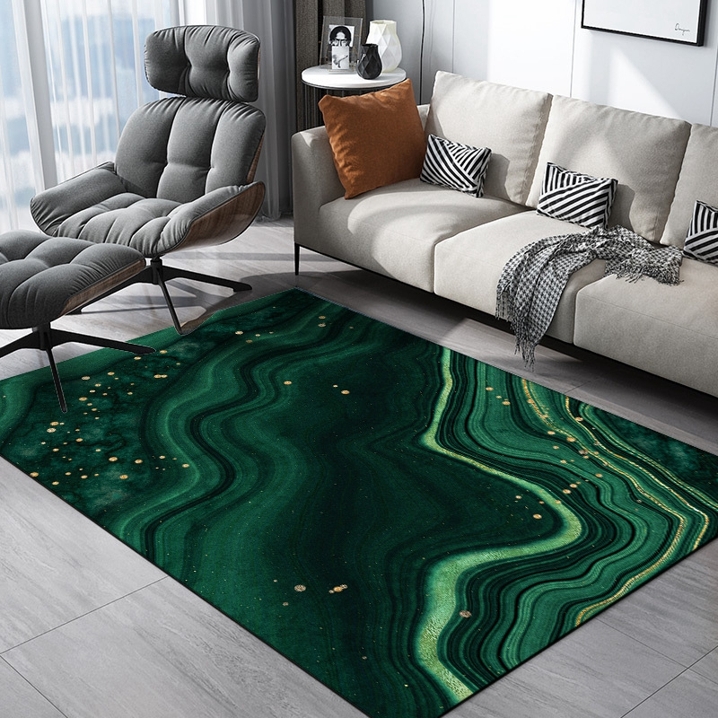 Abstract Oil Painting Large Carpet And Rug Creative Drak Green Marble Tapete Living Room Study Room Sofa Coffee Table Floor Mats
