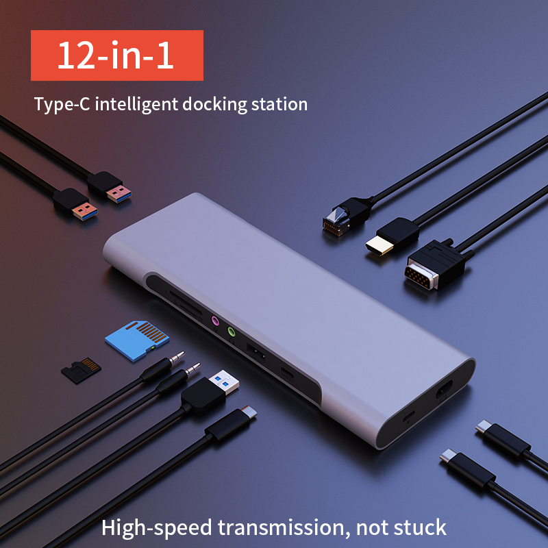 Thunderbolt 3 <font><b>USB</b></font>-C Dock Adapter 12in1 Type C <font><b>Hub</b></font> With <font><b>HDMI</b></font> <font><b>RJ45</b></font> <font><b>VGA</b></font> USB3.0 With SD/TF Card Reader All in one <font><b>Hub</b></font> for MacBook image