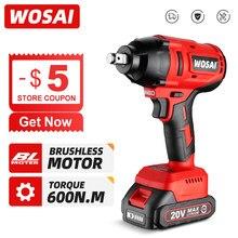 WOSAI – clé à chocs électrique 20V 600N.m, clé sans balais, batterie Li-ion Rechargeable de 1/2 pouces pour pneus de voiture, outils électriques sans fil