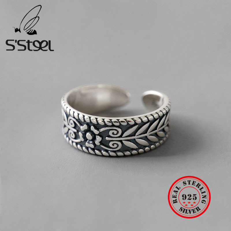 S'STEEL 925 Sterling Silver Rings For Women Olive Leaf Open Ring Bijoux Argent 925 Massif Pour Femme Vintage Party Fine Jewelry