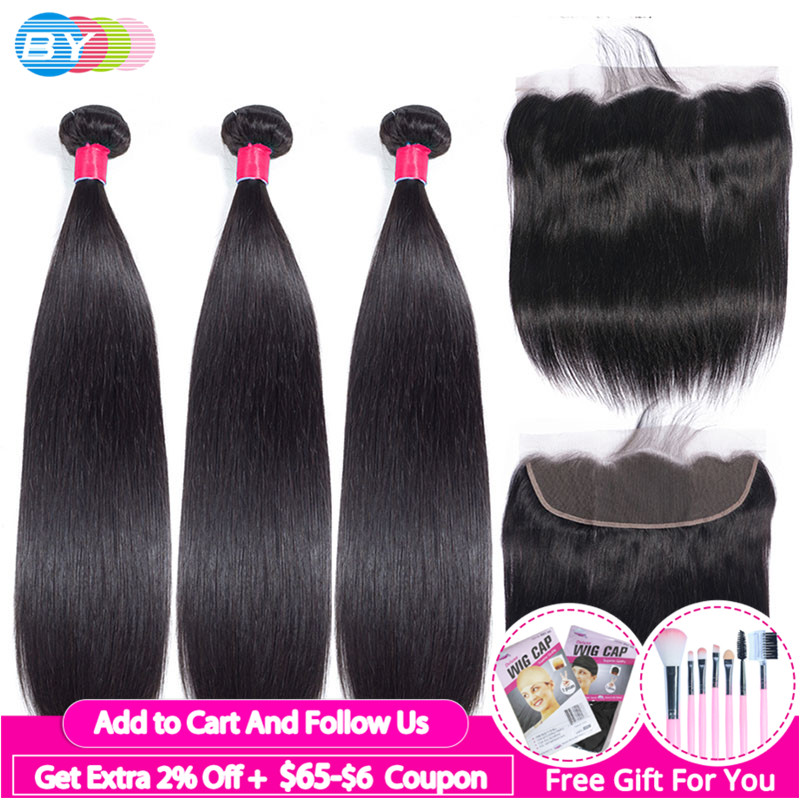3 Bundles With Frontal Straight Hair Bundles With Frontal Brazilian Human Hair Bundles With Frontal Remy Hair Extension BY