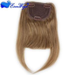 Image 2 - #27 Color Brazilian Human Hair Clip in Hair Bang Full Fringe Short Straight Hair Extension for women 6 8inch