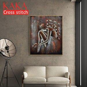 Image 2 - クロスステッチキット、刺繍裁縫セット印刷されたパターン、 11CT canvas のための家の装飾絵画、肖像フル NCKP032
