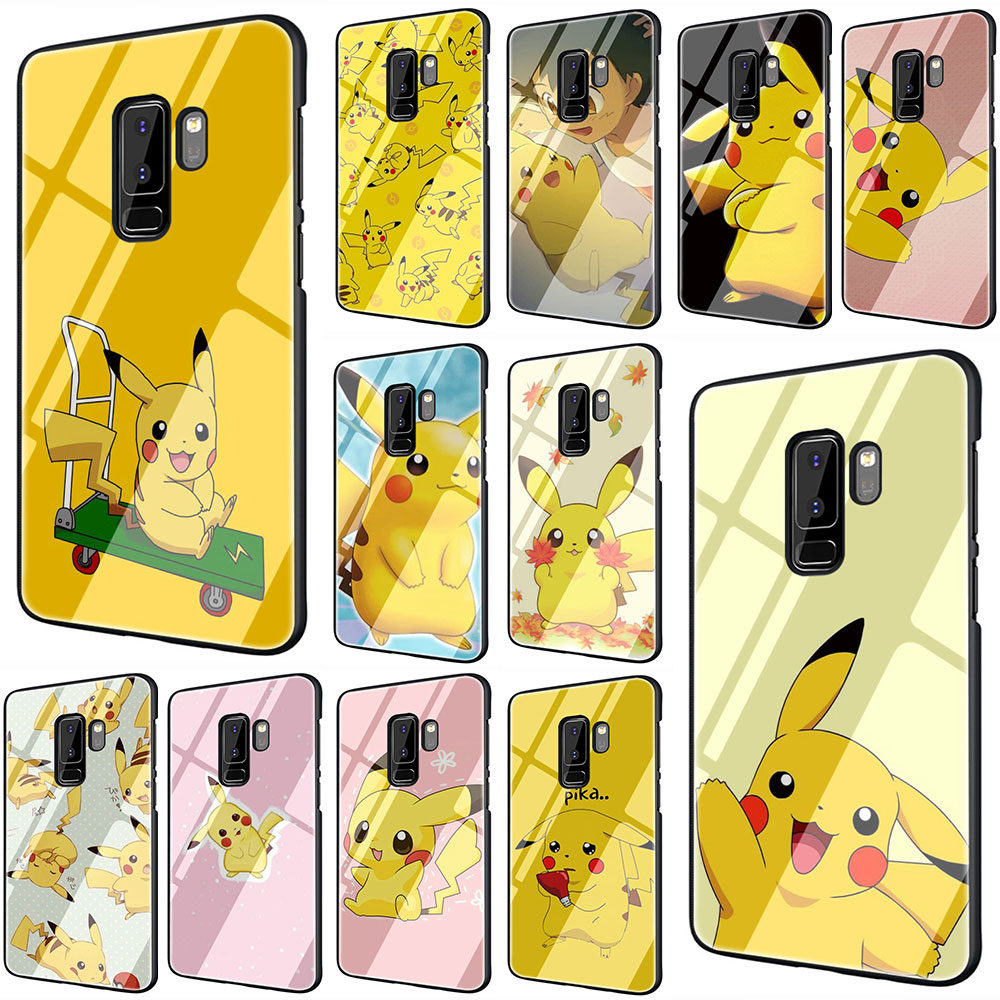 EWAU Pikachu Tempered Glass phone case for Samsung S7 Edge S8 S9 S10 Note 8 9 10 plus A10 20 30 <font><b>40</b></font> 50 <font><b>60</b></font> 70 image