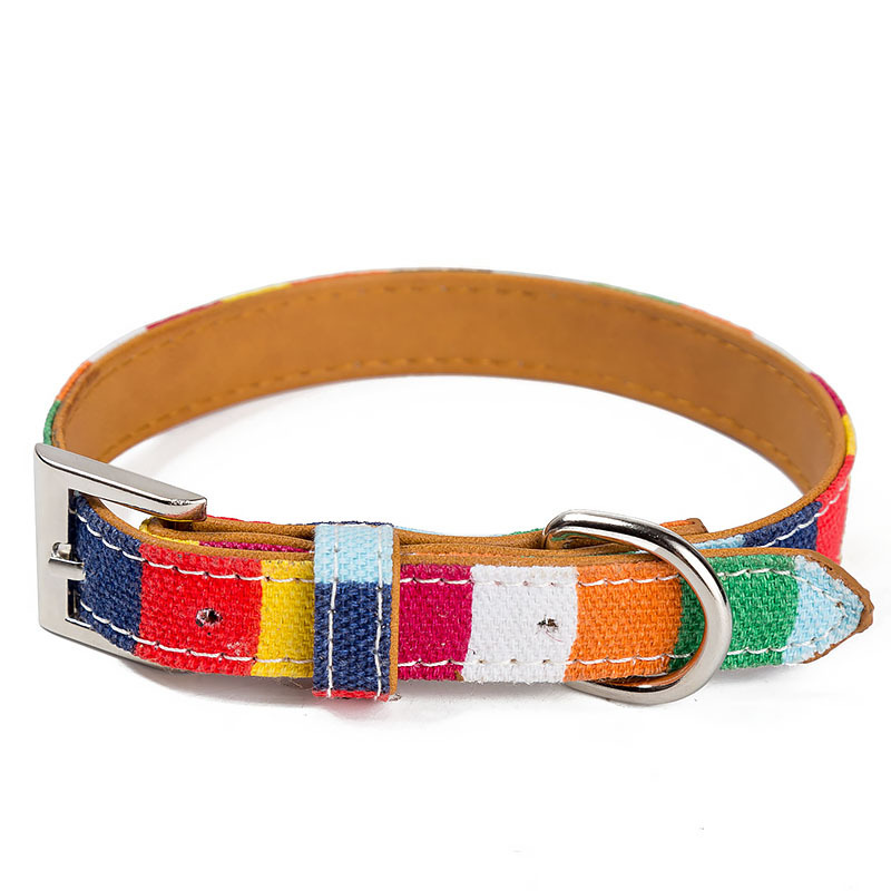 Seven Colours Tiao Pet Collar Canvas + Pu Small Dogs Cat Neck Ring Pet Supplies