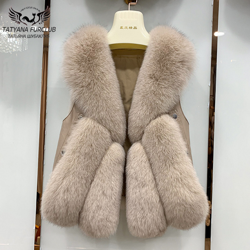 Winter Fashion Slim Fur Coats For Women 2020 New Real Fox Fur Vests With Genuine Sheep Leather Plus Size Natural Fur Waistcoat|Real Fur| - AliExpress